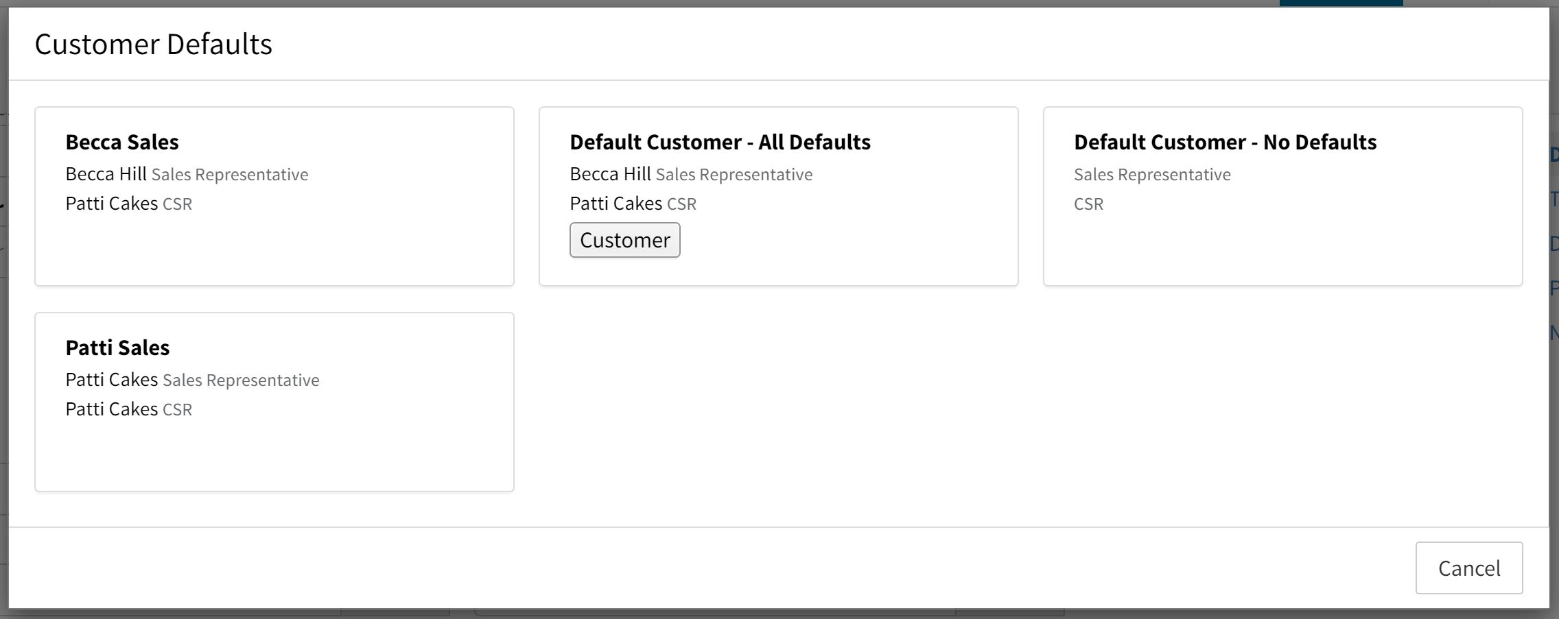 customer defaults